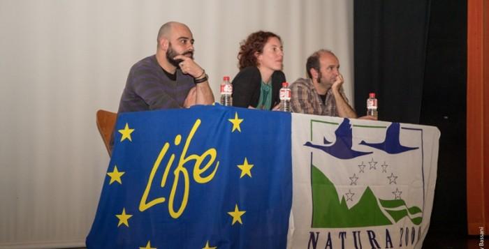Los productores Alba Azaola y Daniel Carrasco y el coordinador del LIFE Anillo Verde Antonio Urchaga