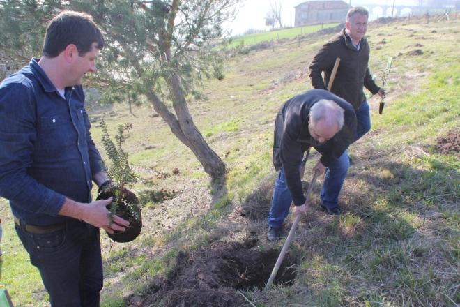 Plantando árboles con la corporación municipal de Campoo de Yuso