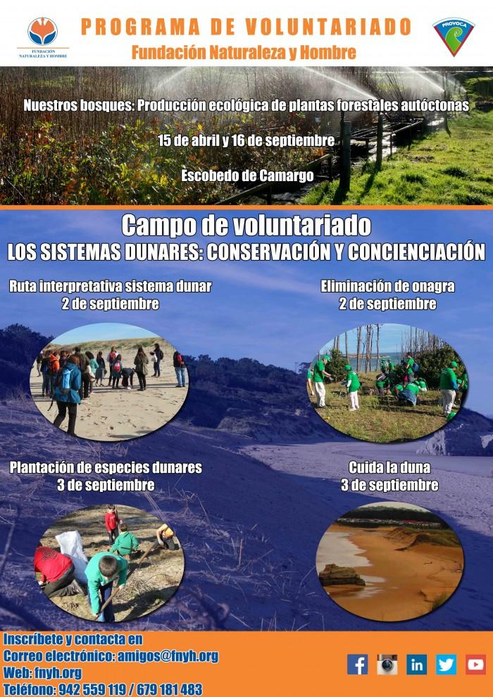 PROVOCA 2017 programa de voluntariado medioambiental de Fundación Naturaleza y Hombre