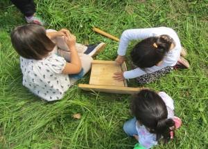 Tres niñas construyen una caja nido.