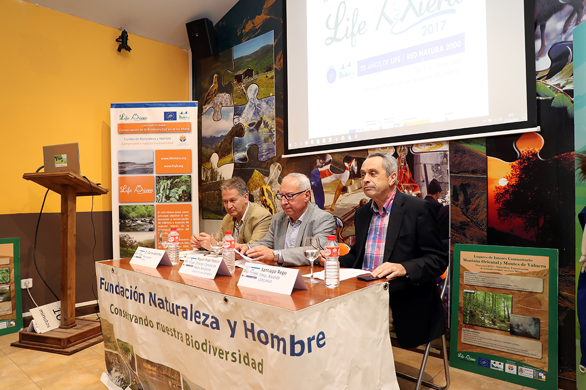 Santiago Rego, Alcalde de Lierganes, Miguel Angel Palacio, Director General Medioambiente, Gobierno Cantabria, Carlos Sanchez, Presidente FNYH.