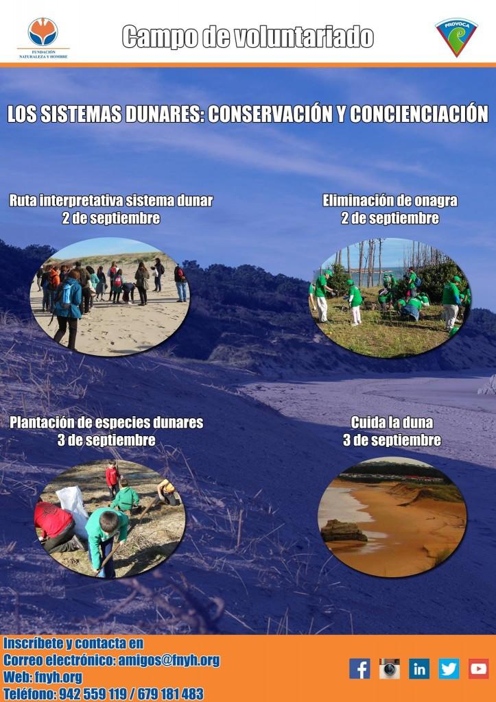 Cartel para el campo de voluntariado sobre sistemas dunares de FNYH y el plan PROVOCA.