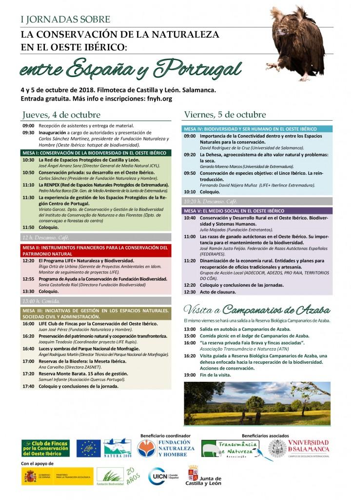 Cartel para las I Jornadas sobre la Conservación de la Naturaleza en el Oeste Ibérico.