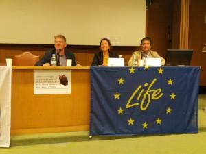Carlos Sánchez (FNYH), Sonia Castañeda (Fundación Biodiversidad) e Íñigo Ortiz de Urbina (LIFE).