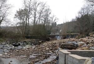 Entrada a la escala para peces en la presa de El Arral.