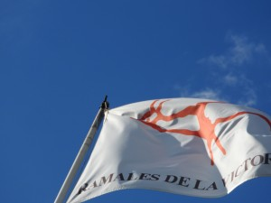 La bandera de Ramales en la cumbre del Monte Pando.