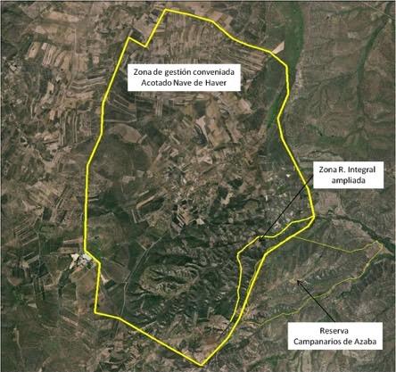 Mapa del territorio gestionado por Fundación Naturaleza y Hombre a ambos lados de la frontera hispano–portuguesa.