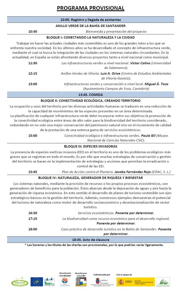 Programa provisional workshop Anillo Verde