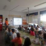 Los alumnos del colegio Pedro Velarde inmersos en el taller de educación ambiental.