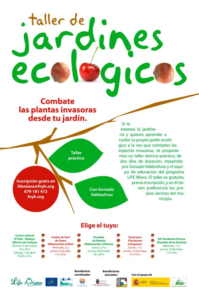 """Cartel para el taller de """"Jardines ecológicos: combate las plantas invasoras desde tu jardín""""."""