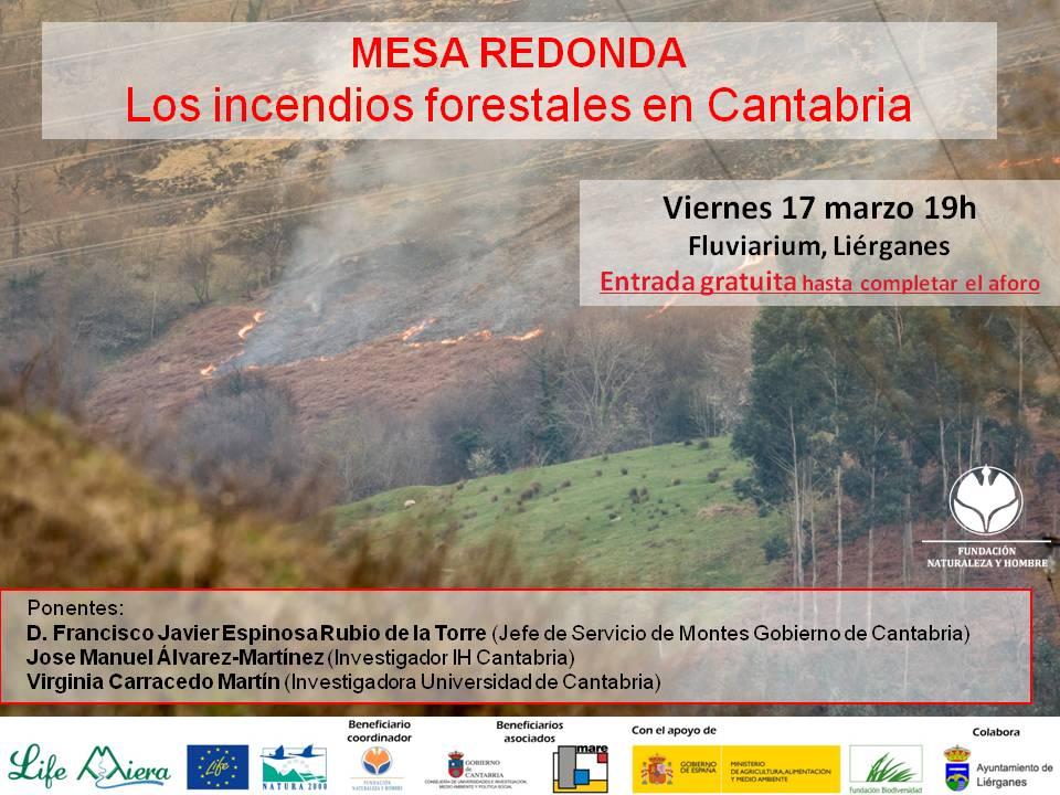 Convocatoria Mesa redonda sobre los incendios forestales en Cantabria 17 marzo 2017
