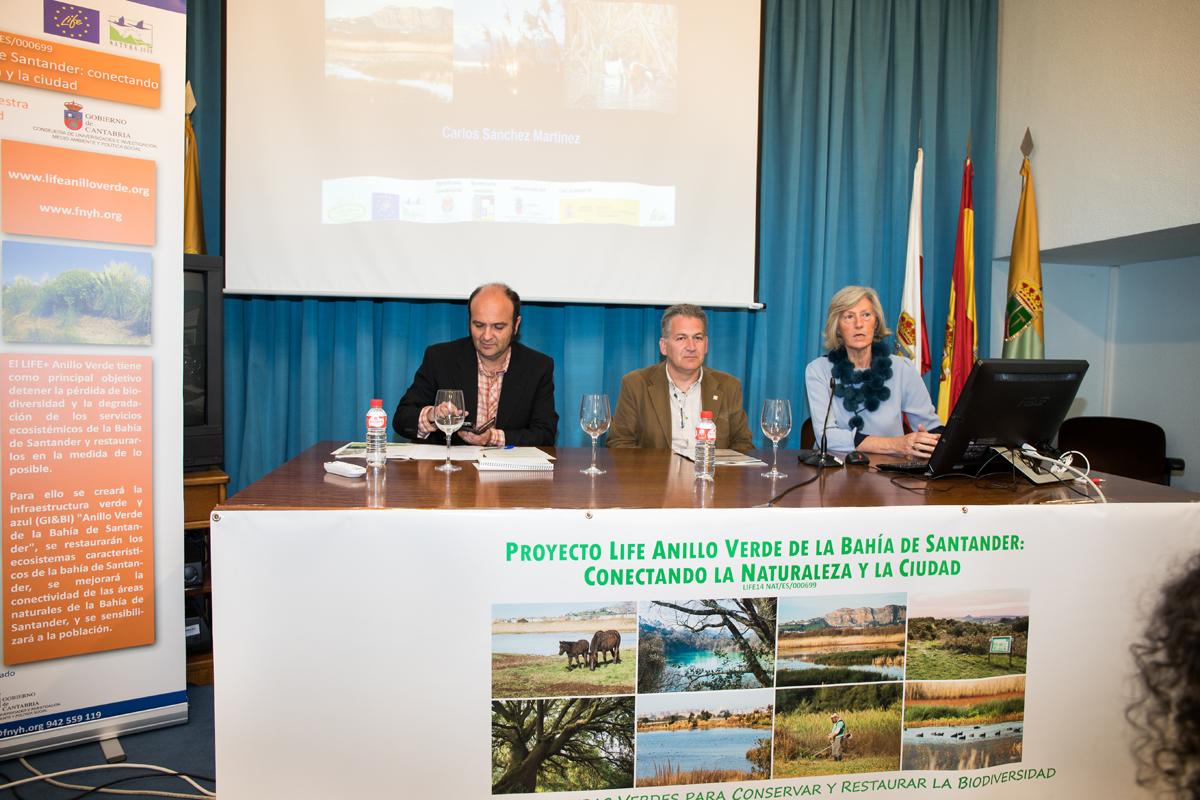 El coordinador del proyecto LIFE Anillo Verde, el Presidente de Fundacion Naturaleza y Hombre y la Directora del CEARC