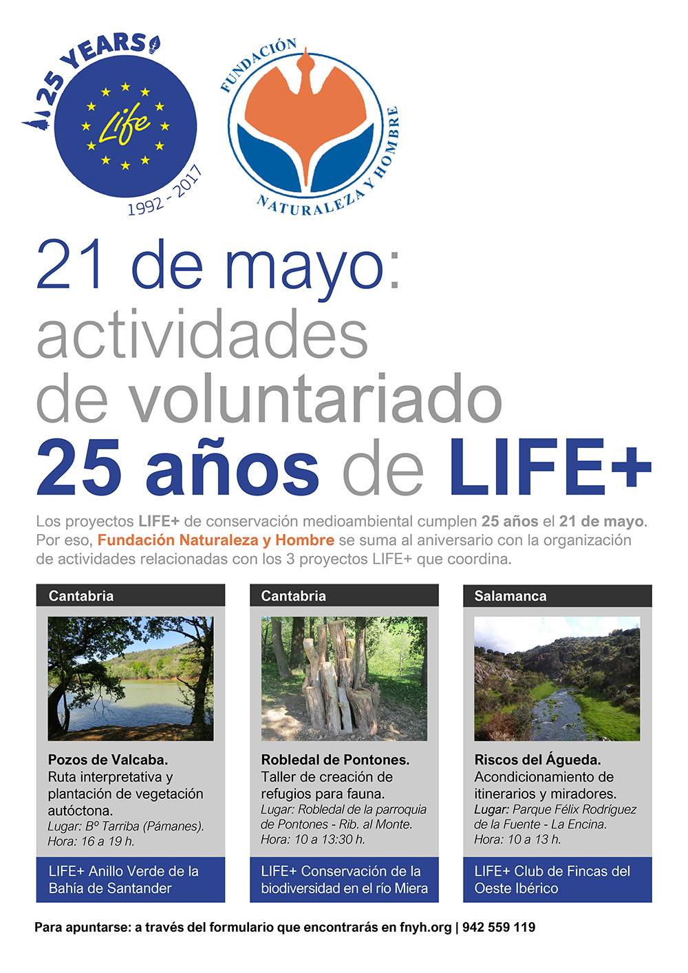 Cartel para las actividades de voluntariado por los 25 años de LIFE / Red Natura 2000.
