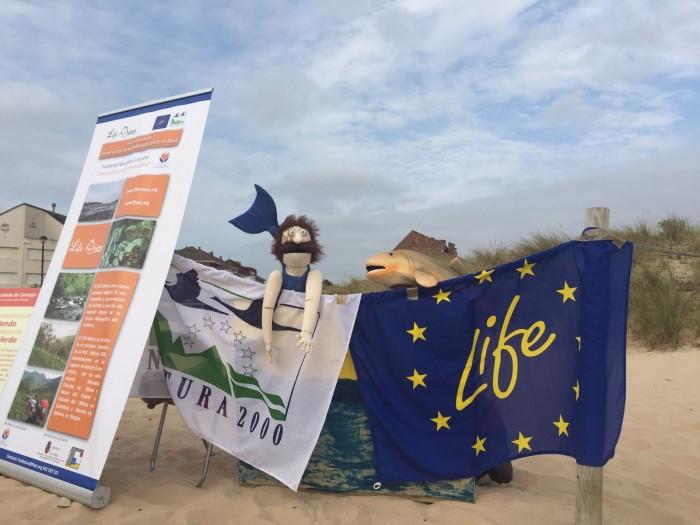 Taller de Ed. Ambiental LIFE Miera. Marionetas en playa Somo