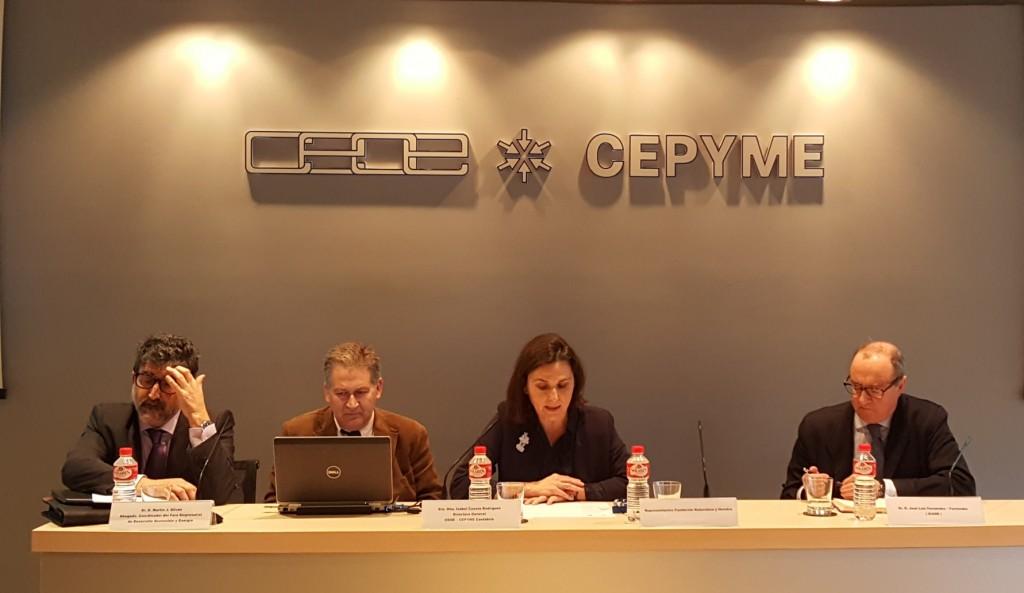 Isabel Cuesta, Jose Luis Rodríguez, Martín Silván y Carlos Sánchez en Jornada RSC con CEOE-CEPYME Cantabria