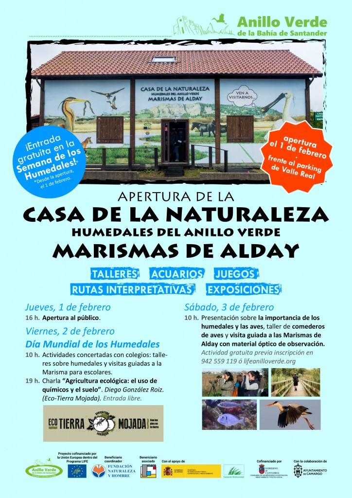 Cartel para la apertura de la Casa de los Humedales del Anillo Verde