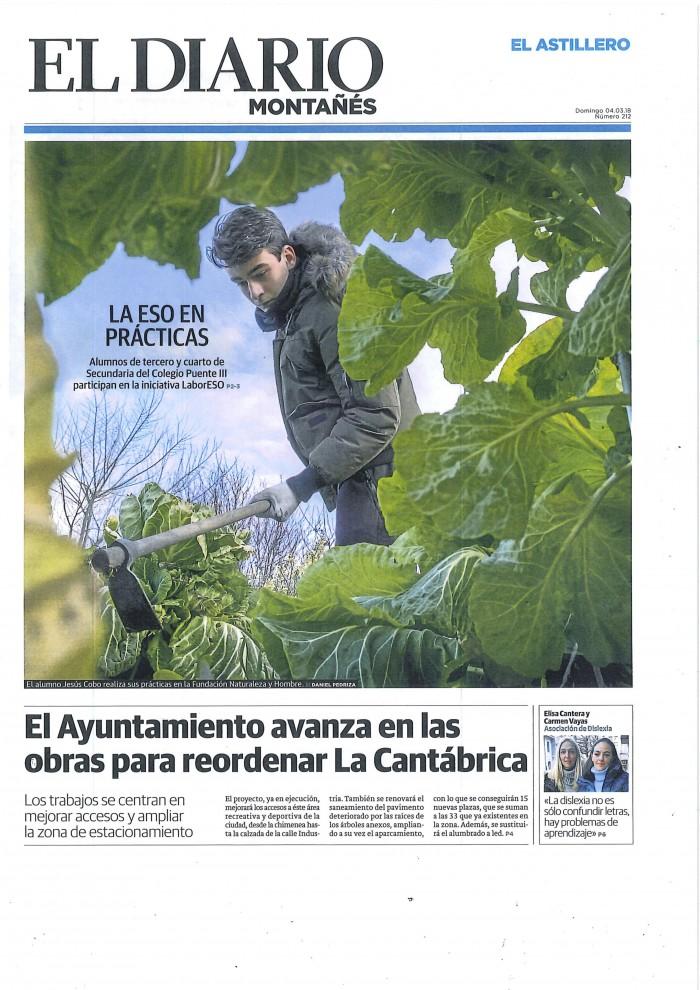 El estudiante Jesús Cobo del colegio Puente de El Astillero realizando sus prácticas Labor ESO en la Casa Naturaleza de los Humedales del Anillo Verde, marisma de Alday en Camargo.