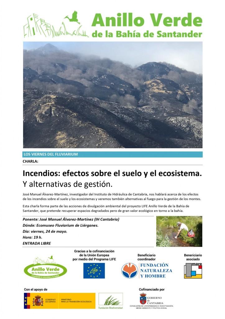 Cartel Charla Incendios Fluviarium de Liérganes